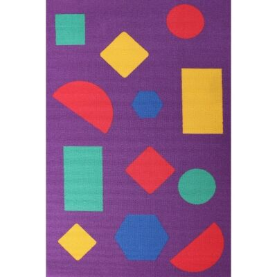 Shapes Kids Rug, 150x100cm, Purple