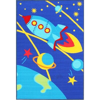 Space Rocket Kids Rug, 150x100cm, Blue