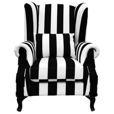 Zebra Fabric Upholstered Wing Chair with Cushion