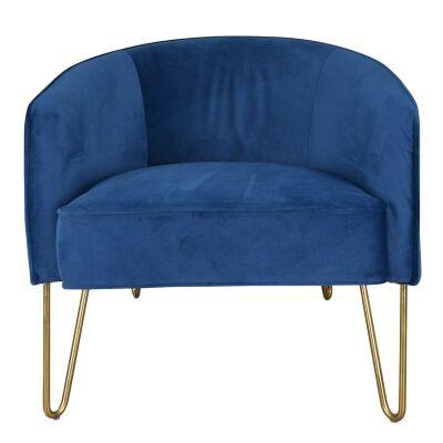 Lesya Velvet Fabric Lounge Armchair,Blue