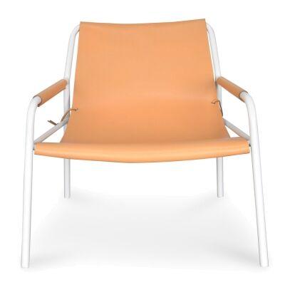 Vito Leather & Metal Lounge Armchair, Tan / White