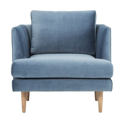 Mina Fabric Armchair, Dust Blue