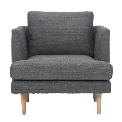 Mina Fabric Armchair, Dark Grey