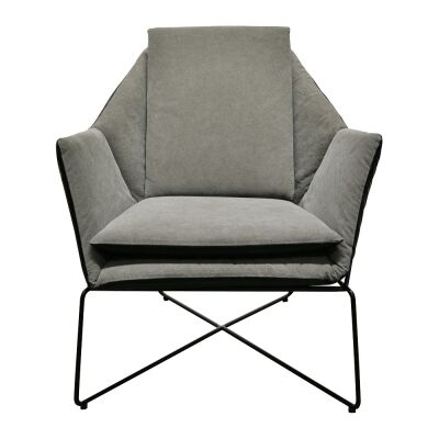 Hamboldt Fabric & Faux Leather Lounge Armchair