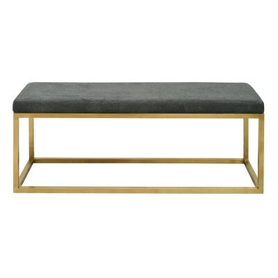 Cecil Fabric & Stainless Steel Ottoman Bench, 120cm, Gunmetal / Gold