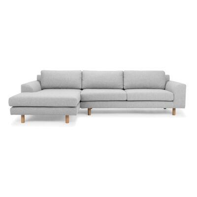 Sabo Fabric Corner Sofa, 2 Seater with LHF Chaise, Light Grey-I