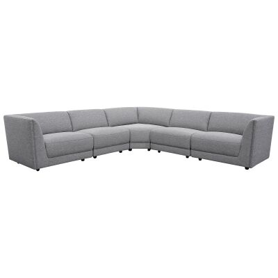 Kaniva Fabric Corner Sofa, 5 Seater, Graphite Grey