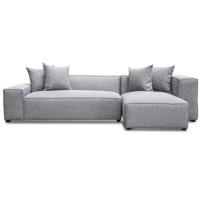 Ellis Fabric Modular Corner Sofa, 2 Seater with RHF Chaise, Coin Grey