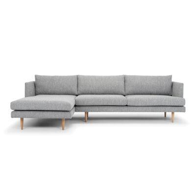 Mina Fabric Corner Sofa, 2 Seater with LHF Chaise, Graphite Grey