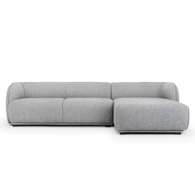 Havero Fabric Corner Sofa, 2 Seater with RHF Chaise, Grey