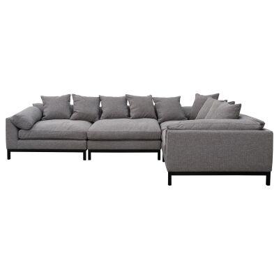 Hassall Fabric Corner Sofa, 4 Seater, Graphite Grey