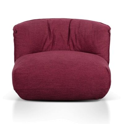 Netley Fabric Pouf Lounge Chair, Garnet Red