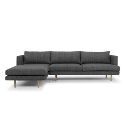 Mina Fabric 2 Seater Corner Sofa with Left Hand Facing Chaise, Dark Grey