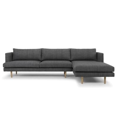 Mina Fabric 2 Seater Corner Sofa with Right Hand Facing Chaise, Dark Grey