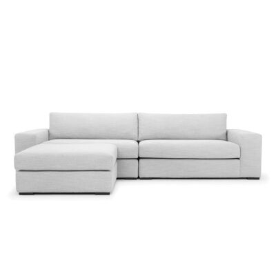 Lilla Fabric 3 Seater Sofa with Ottoman, Light Grey