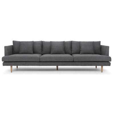 Mina Fabric Sofa, 4 Seater, Metal Grey