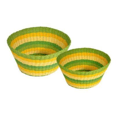 Farino 2 Piece Woven Paper Twine Basket Set, Green