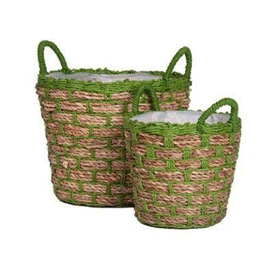 Pakada 2 Piece Woven Jute & Paper Twine Basket Planter, Green