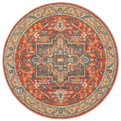 Legacy No.850 Bohemian Round Rug, 200cm, Terracotta / Charcoal