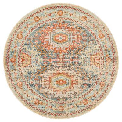 Legacy No.853 Bohemian Round Rug, 200cm, Teal / Honey