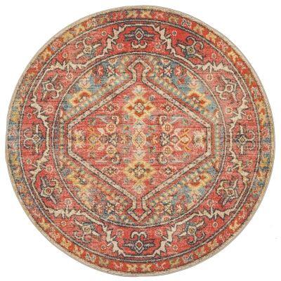 Legacy No.856 Bohemian Round Rug, 200cm, Crimson / Turquoise