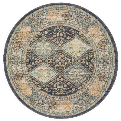 Legacy No.857 Bohemian Round Rug, 150cm, Teal / Midnight