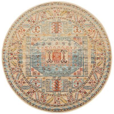 Legacy No.859 Bohemian Round Rug, 150cm, Cream / Turquoise