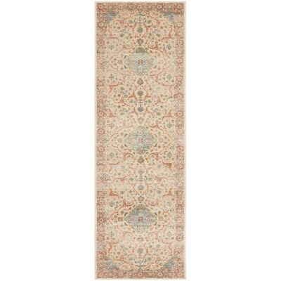 Legacy No.861 Bohemian Runner Rug, 400x80cm, Off White / Turquoise