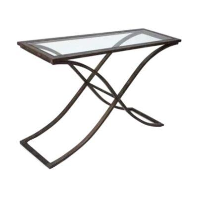 Leon Glass & Metal Console Table, 121cm