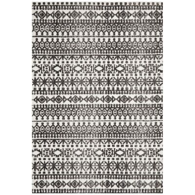 Levi Morgana Tribal Rug, 155x225cm, Black / Ivory