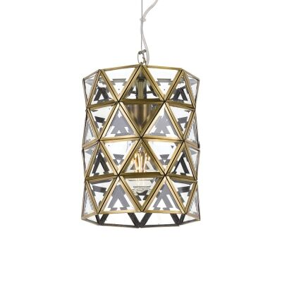 Lewis Metal & Glass Pendant Light, Small, Antique Brass