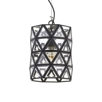 Lewis Metal & Glass Pendant Light, Small, Black