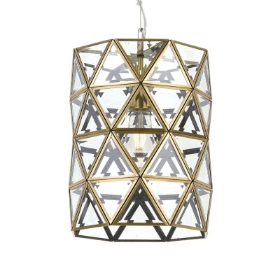 Lewis Metal & Glass Pendant Light, Large, Antique Brass