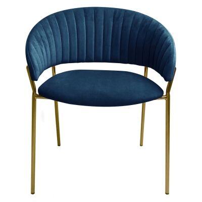 Lex Velvet Fabric Dining Chair, Blue