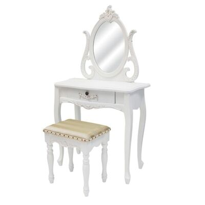 Garches Wooden Dressing Table with Mirror and Strip Patterned Upholstered Stool