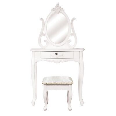 Garches Wooden Dressing Table with Mirror and Floral Upholstered Stool