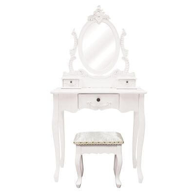 Cachan Wooden Dressing Table with Mirror and Floral Upholstered Stool