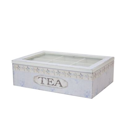 Wooden Tea Box in Blue - Large