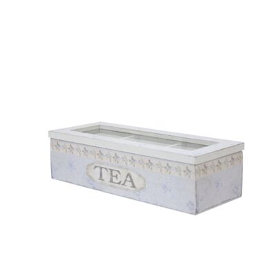 Wooden Tea Box in Blue - Small
