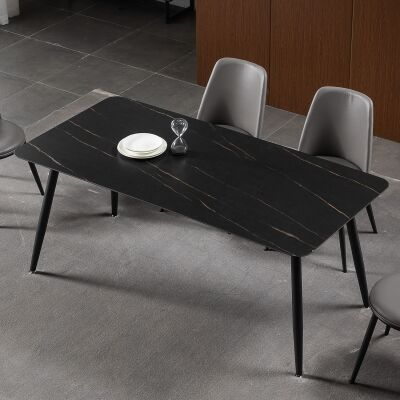 Cheviot Sintered Stone Top Dining Table, 160cm, Black