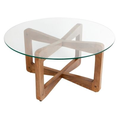Lisbon Glass & Teak Timber Round Coffee Table, 80cm