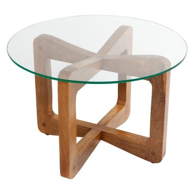 Lisbon Glass & Teak Timber Round Coffee Table, 60cm
