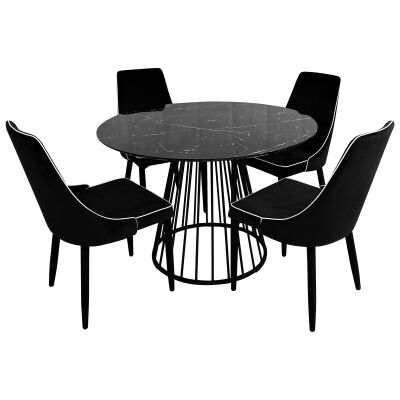 Liverpool 5 Piece Round Dining Table Set, 110cm, with Carina Chair, Black Top