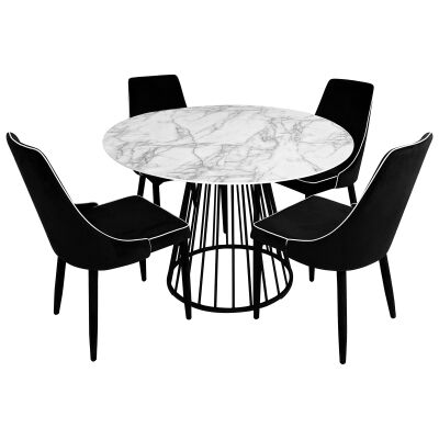 Liverpool 5 Piece Round Dining Table Set, 110cm, with Carina Chair, White Top