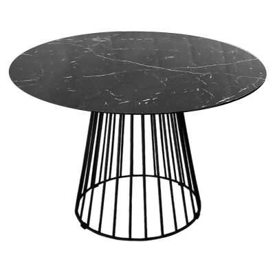 Liverpool Round Dining Table, Black Top