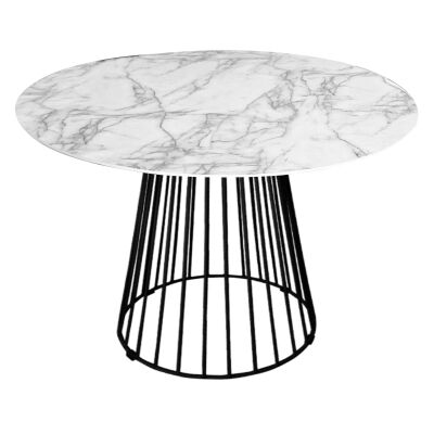 Liverpool Round Dining Table, White Top