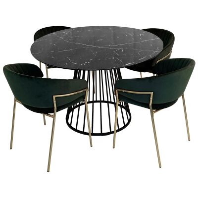 Liverpool 5 Piece Round Dining Table Set, 110cm, with Green Lex Chair, Black Top
