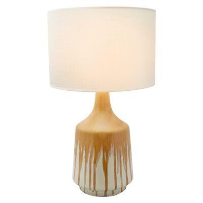 Martha Ceramic Table Lamp, Bottle Base, Ochre