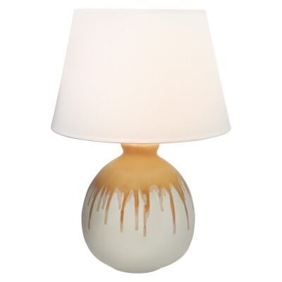 Martha Ceramic Table Lamp, Ball Base, Ochre