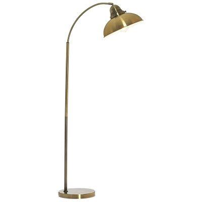 Manor Metal Floor Lamp, Weathered Brass